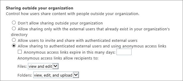 Tenant external sharing page