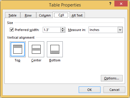 Cell tab in the Table Properties dialog box