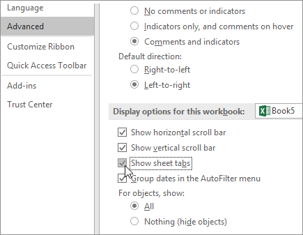 Show sheet tabs in Excel options