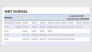 A shift schedule template