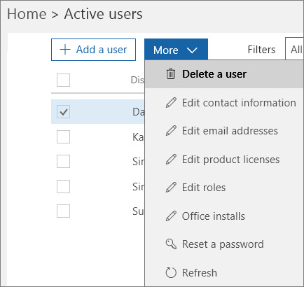 Delete a user from the Office 365 Admin Center.