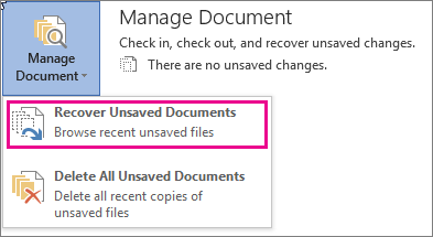 Office 2016 Recover Unsaved Documents
