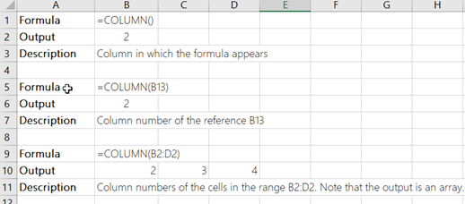 Examples of the COLUMN function