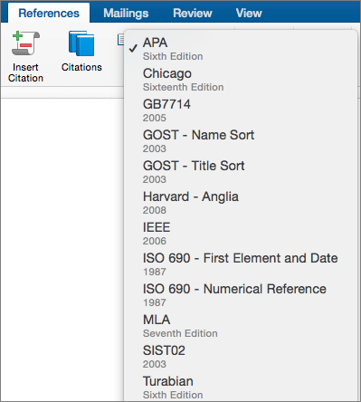 On the References tab, the citation styles are highlighted.
