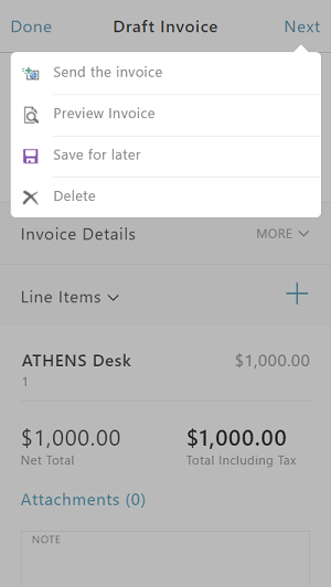 "Screenshot of ""Send the invoice"" step of Invoicing app"