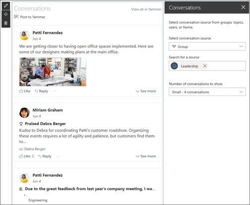 Yammer web part example.
