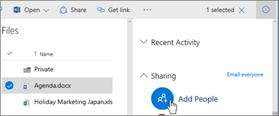 Screenshot of the Add People option for shairing in the Permissions pane in OneDrive for Business
