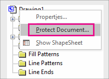Protect Document in Drawing Explorer in Visio 2016