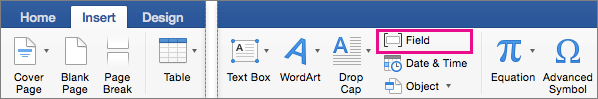 The Field option is highlighted on the Insert tab.
