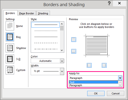 The options in Apply to box are highlighted in the Borders and Shading dialog box.
