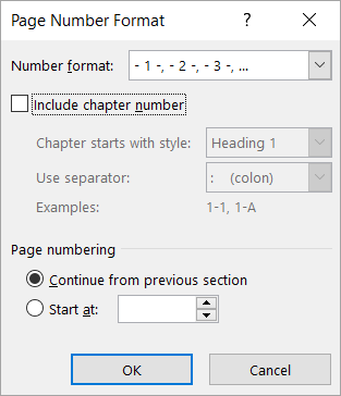 The Page Number Format dialog box