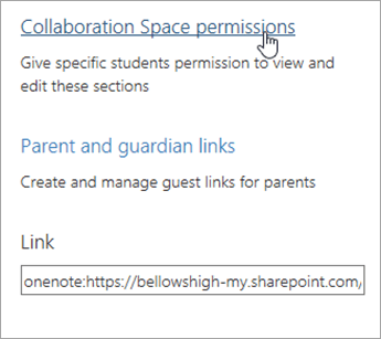 Collaboration Space permissions link within Manage Class Notebooks, located above Parent and guardian links.