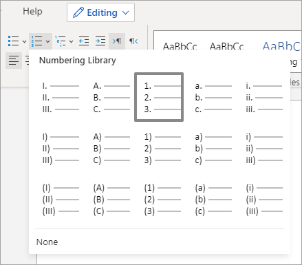 Options in the Numbering Library