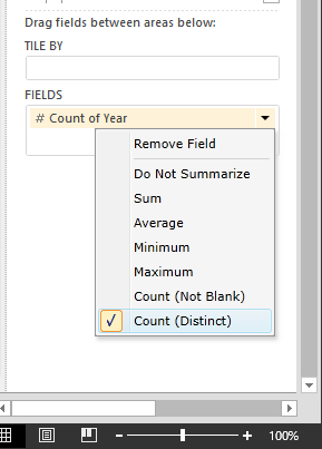 select Count (Distinct) in Power View Fields