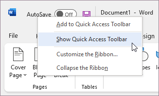 Show the Quick Access Toolbar