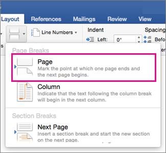 Insert or remove a page break in word word for mac layout break menu with page break highlighted ccuart Choice Image