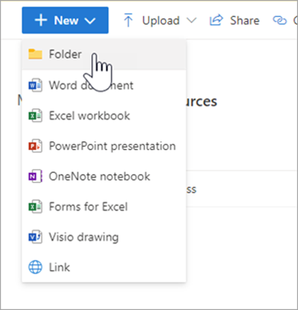 """Screenshot of dropdown menu in Onedrive, mouse hovers over """"folder"""""""