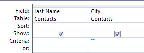 query designer with criteria set to show records with blank value field