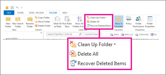 Recover Deleted Item command on the ribbon