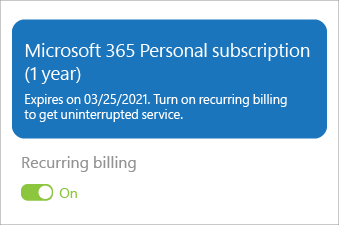 Shows a Microsoft 365 Personal subscription with recurring billing turned on.