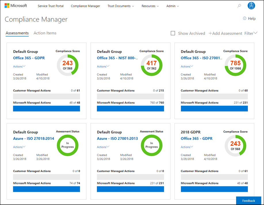 Compliance Manager Dashboard - top menu - updated Admin menu