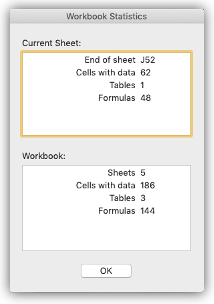 Image showing the Workbook Statistics dialog with summary information about the current sheet and workbook.
