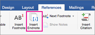 On the References tab, the Endnote button is highlighted