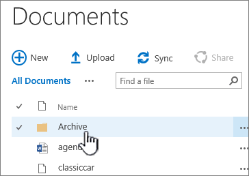 SharePoint 2016 document library with folder highlighted