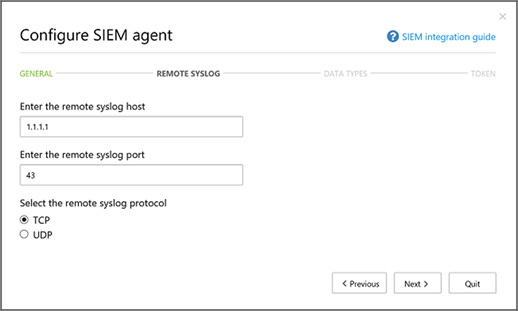 Specify your Remote syslog host and Syslog port number