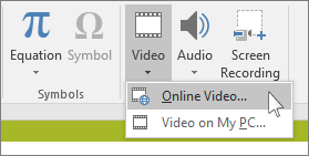 The button on the ribbon for inserting an online video in PowerPoint