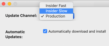 Image of Mac Microsoft AutoUpdate -> Preferences window that shows insider slow and insider fast options.