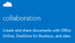 Screen shot of  the Admin getting started pane for collaboration, including OneDrive for Business, Office Web Apps, and team sites. Click to open the related help topic.