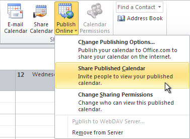 Share Published Calendar command ont he ribbon