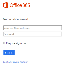Sign in using your Office 365 global admin account.