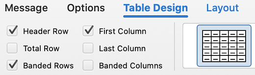 Table design tab in Outlook for Mac.