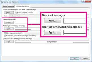 Font command in the Signatures and Stationery dialog box