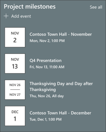 Screenshot of the events web part