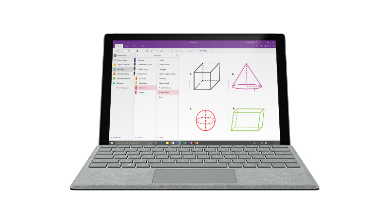 A screen showing a OneNote class notebook