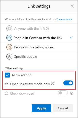 Link settings to allow editing.