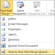 In Word, on the Mailings tab, choose Start Mail Merge, and then choose Step by Step Mail Merge Wizard