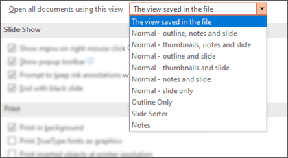 The Open all documents using this view list expanded so the customer can select a default view.