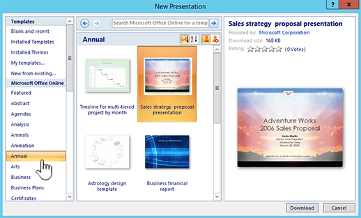 apply a template to a new presentation powerpoint