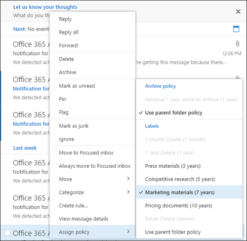Assign policy menu in Outlook on the web