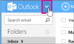 Outlook.com arrow for selecting a view