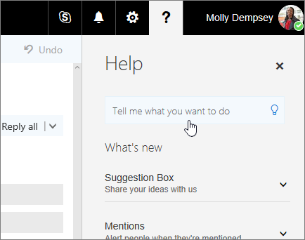 Screenshot of Help pane in Outlook on the Web, showing the Tell Me box.