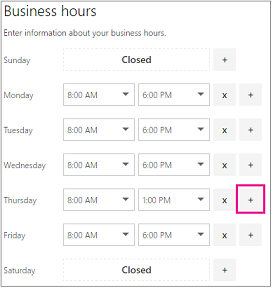 Business hours page with plus sign highlighted