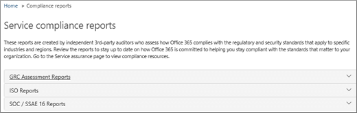 Shows the Service assurance page: Service Compliance Reports.