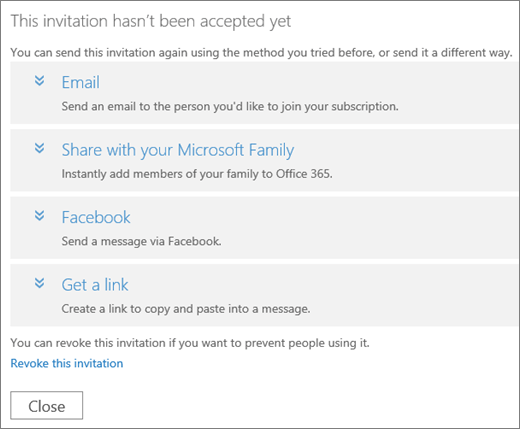Screenshot of the dialog box for a pending invitation with options to send the link again via email, Microsoft Family, Facebook, or custom link, and a link to revoke the invitation.