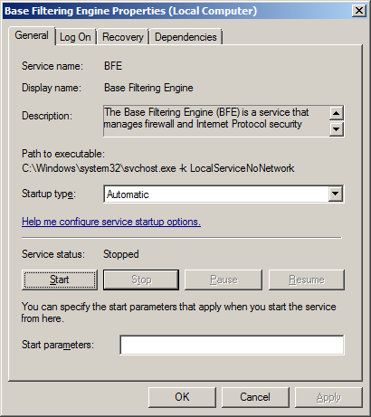 If Service status is Stopped, click Start
