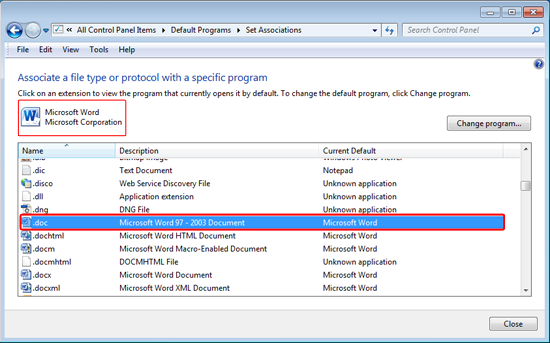The file type is associated with the selected program, close thewindow, and the problem is solved